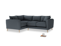 Large Left Hand Squishmeister Corner Sofa in Lava grey clever linen