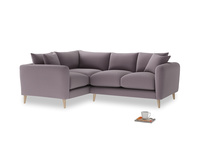 Large Left Hand Squishmeister Corner Sofa in Lavender brushed cotton