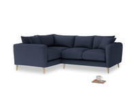 Large Left Hand Squishmeister Corner Sofa in Night Owl Blue Clever Woolly Fabric