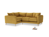Large Left Hand Squishmeister Corner Sofa in Mellow Yellow Clever Laundered Linen