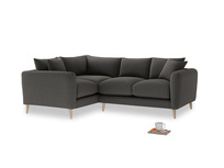 Large Left Hand Squishmeister Corner Sofa in Old Charcoal brushed cotton