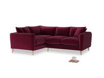 Large Left Hand Squishmeister Corner Sofa in Merlot Plush Velvet