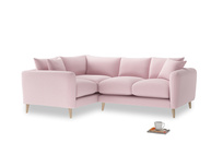Large Left Hand Squishmeister Corner Sofa in Pale Rose vintage linen