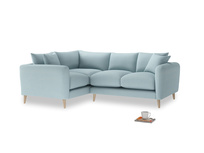 Large Left Hand Squishmeister Corner Sofa in Powder Blue Clever Softie