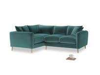 Large Left Hand Squishmeister Corner Sofa in Real Teal clever velvet