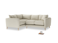 Large Left Hand Squishmeister Corner Sofa in Pale rope clever linen