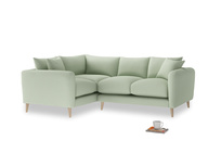 Large Left Hand Squishmeister Corner Sofa in Powder green Clever Linen