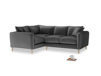 Large Left Hand Squishmeister Corner Sofa in Scuttle grey vintage velvet