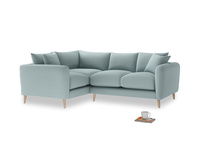 Large Left Hand Squishmeister Corner Sofa in Smoke blue brushed cotton