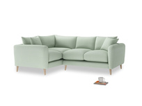 Large Left Hand Squishmeister Corner Sofa in Soft Green Clever Softie