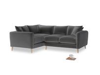 Large Left Hand Squishmeister Corner Sofa in Steel clever velvet