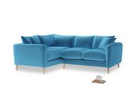 Large Left Hand Squishmeister Corner Sofa in Teal Blue plush velvet