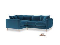 Large Left Hand Squishmeister Corner Sofa in Twilight blue Clever Deep Velvet