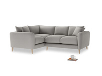 Large Left Hand Squishmeister Corner Sofa in Wolf brushed cotton