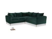 Even Sided Squishmeister Corner Sofa in Dark green Clever Velvet