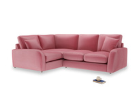 Large Left Hand Easy Squeeze Corner Sofa in Blushed pink vintage velvet