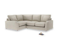 Large Left Hand Easy Squeeze Corner Sofa in Thatch house fabric