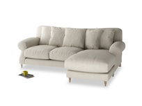 Large right hand Crumpet Chaise Sofa in Thatch house fabric