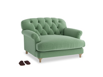 Truffle Love seat in Thyme Green Vintage Linen