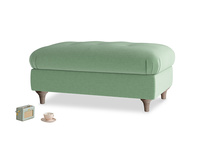 Rectangle Jammy Dodger Footstool in Thyme Green Vintage Linen