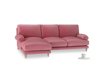 Large left hand Slowcoach Chaise Sofa in Blushed pink vintage velvet
