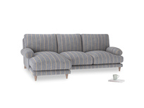 Large left hand Slowcoach Chaise Sofa in Brittany Blue french stripe