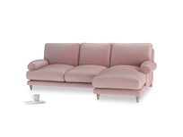Large right hand Slowcoach Chaise Sofa in Chalky Pink vintage velvet