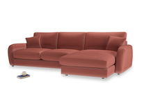 XL Right Hand  Easy Squeeze Chaise Sofa in Dusty Cinnamon Clever Velvet