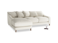 Large left hand Oscar Chaise Sofa in Chalky White Clever Softie