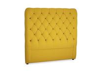 Double Tall Billow Headboard in Yellow Ochre Vintage Linen