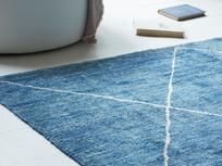 Habib woolen woven rug in blue marl