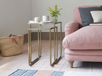 Shimmy square brass and glass side tables