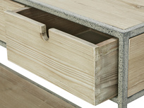 Side Tim Console Table Open Drawer Detail
