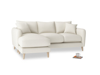 Large left hand Squishmeister Chaise Sofa in Chalky White Clever Softie