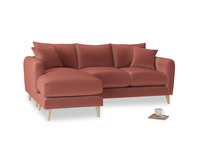 Large left hand Squishmeister Chaise Sofa in Dusty Cinnamon Clever Velvet