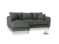 Large left hand Squishmeister Chaise Sofa in Pencil Grey Clever Laundered Linen