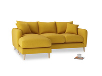 Large left hand Squishmeister Chaise Sofa in Yellow Ochre Vintage Linen
