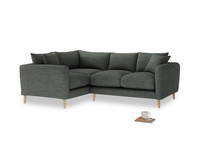 Large Left Hand Squishmeister Corner Sofa in Pencil Grey Clever Laundered Linen