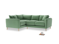 Large Left Hand Squishmeister Corner Sofa in Thyme Green Vintage Linen