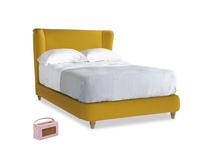 Double Hugger Bed in Yellow Ochre Vintage Linen