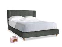 Kingsize Hugger Bed in Pencil Grey Clever Laundered Linen