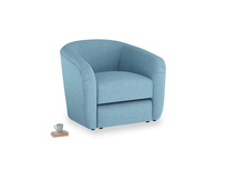 Tootsie Armchair in Moroccan blue clever woolly fabric