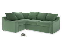 Large Left Hand Cloud Corner Sofa in Thyme Green Vintage Linen