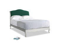 Double Coco Bed in Scuffed Grey in Cypress Green Vintage Linen
