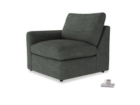 Chatnap Storage Single Seat in Pencil Grey Clever Laundered Linen with a left arm