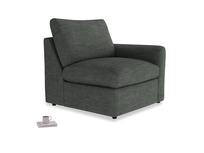 Chatnap Storage Single Seat in Pencil Grey Clever Laundered Linen with a right arm
