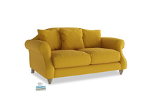 Small Sloucher Sofa in Yellow Ochre Vintage Linen