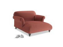 Soufflé Love Seat Chaise in Dusty Cinnamon Clever Velvet