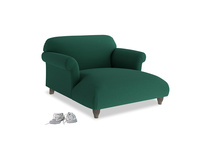 Soufflé Love Seat Chaise in Cypress Green Vintage Linen