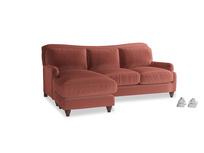 Large left hand Pavlova Chaise Sofa in Dusty Cinnamon Clever Velvet